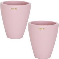 Set2 2 Keramik Blumentopf Rhodos für Orchideen silver pink H 17 cm happy-nature