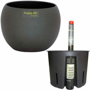 Set3 Keramik Hydro Blumentopf Madeira 15/12 dunkel grau...