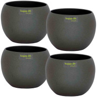 Set4 4 Keramik Blumentöpfel Madeira 11/09 dunkel grau struktur Kugel Ø 14,0 cm H 11,5 cm