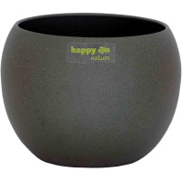 Set4 4 Keramik Blumentöpfel Madeira 15/12 dunkel grau struktur Kugel Ø 19,0 cm H 15,0 cm