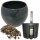 Set4 Keramik Blumentopf Menorca 11/09 Ø 14 H 11,5 cm  grau von happy-nature für Erdpflanzen