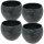 Set4 4 Keramik Blumentopf Menorca 13/12 Ø 14 H 19 cm  grau von happy-nature