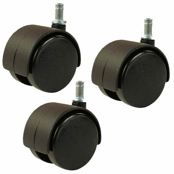Set3 = 3 Rollen schwarz für weichen Untergrund Metallstift Ø 10 mm