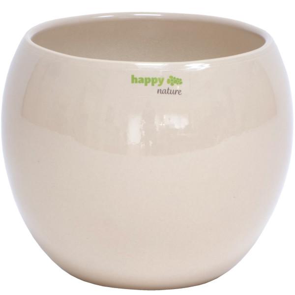 B Ware Keramik Blumentopf Pisa rund sand beige Ø 16 cm H 13.5 cm